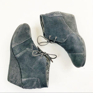 Toms Desert Wedge Lace Up Booties Gray Size 10